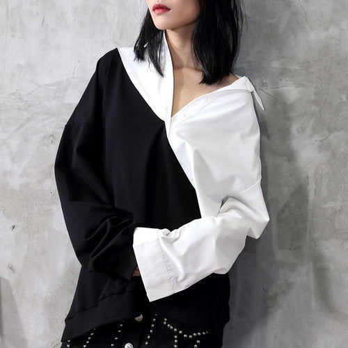 Cotton Contrast Loose Long Sleeve Shirt