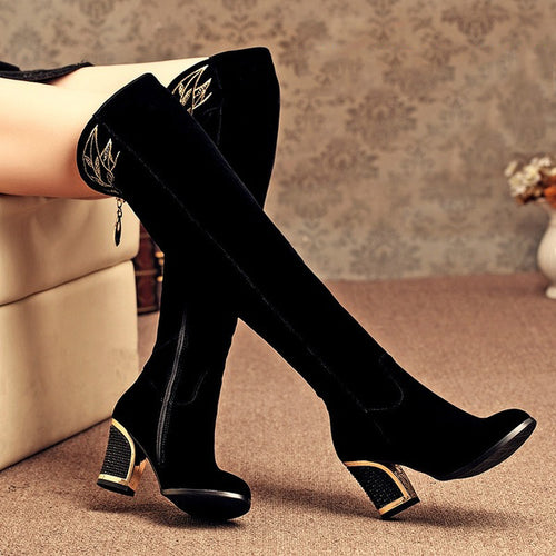 Sexy Over-the-knee Thick High Heels Women High Boots