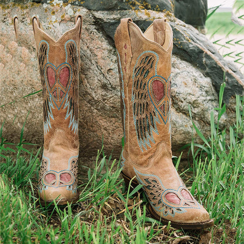 Openwork Heart Wings Leather Western Boot