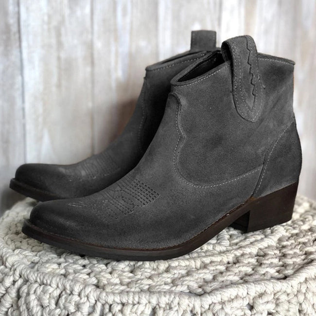 Womens Vintage Slip-On Chunky Heel Ankle Boots