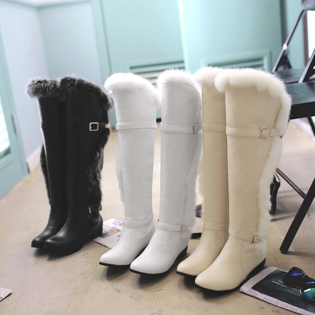 Women Winter Casual Buckle Snow High Boots