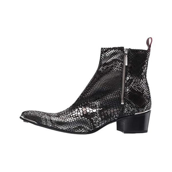 Latest Colorful Black Snake Pattern Chelsea Men's Boots