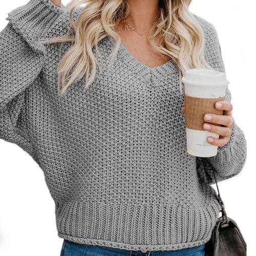 Women's Loose Knit V-Neck Sweater
