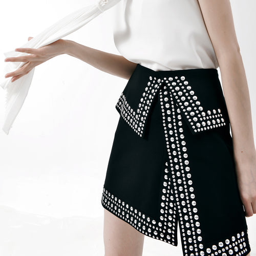 High-rise Studded Asymmetric Split Skirt