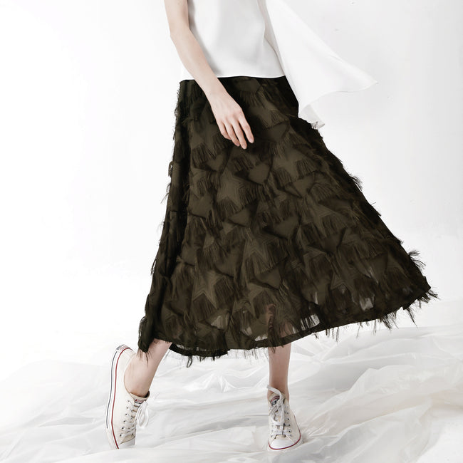 Elegant Feather Fringed Skirt