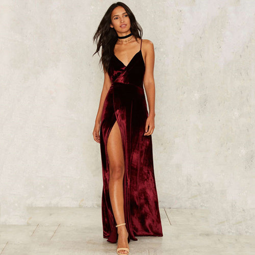Gold Velvet Sexy Cross Halter Backless Dress