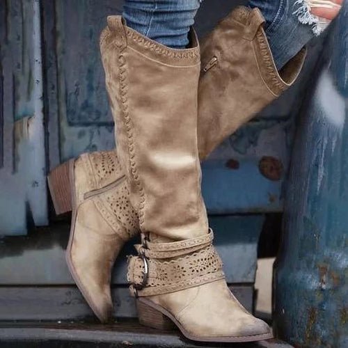 Women Fashion Lace Buckle Knee-High Boots