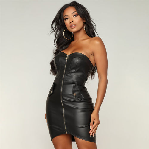 PU Zip Backless Dress