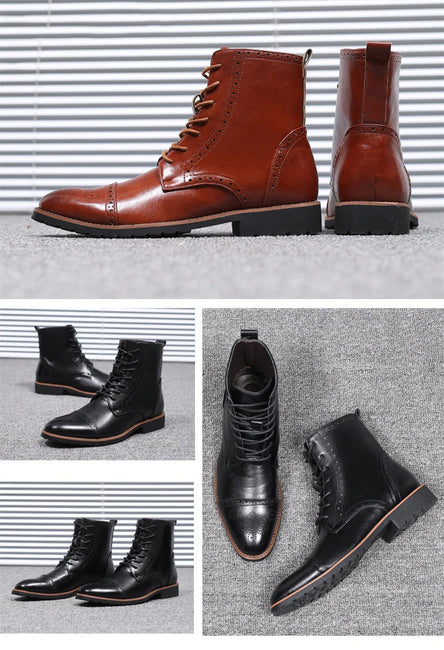 High Quality Leather Western Italian Man Ankle Boots