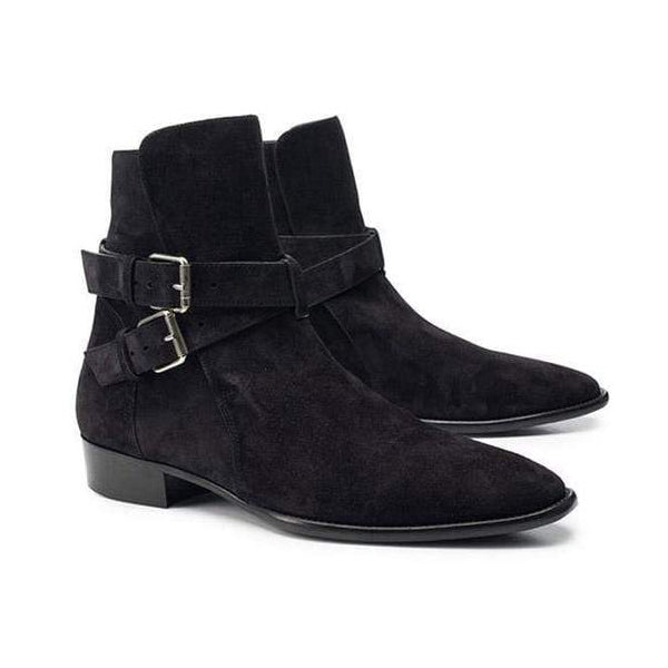 Fashion Mens Suede Buckle Pointed Toe Chelsea Boots