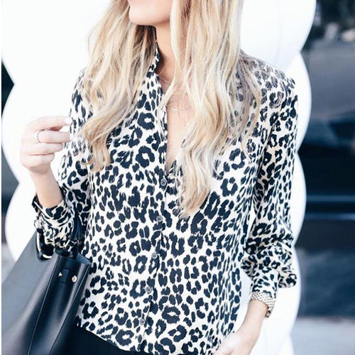 Long Sleeve Leopard Print Chiffon Shirt