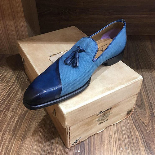 Italy Handmade Men's Leather/canvas loafers (Buy 1 Get 1 50% Off!)