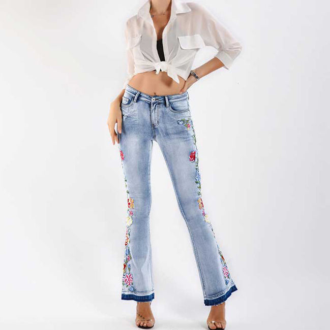 Embroidery Released Hem Flare Jeans Women Elasticity Bell-Bottoms Jeans