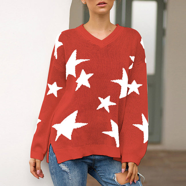 Super Sexy Red Star Pattern Knit Sweater Long Sleeve Elegance
