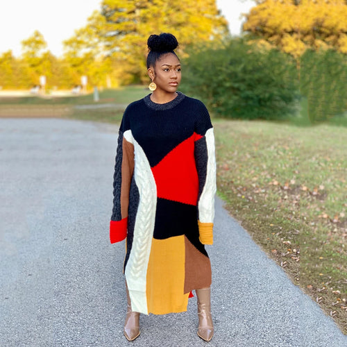 Geo Patchwork Sweater Dress