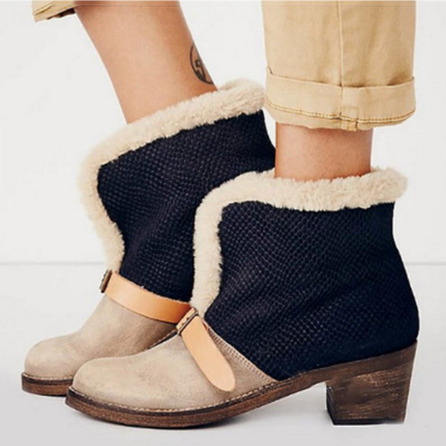 Vintage Flock Buckle Snow Warm Winter Booties