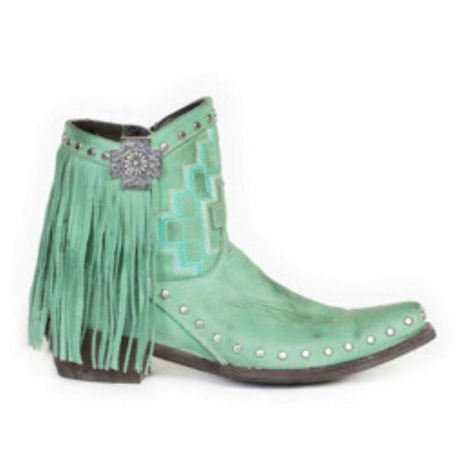 Women Vintage Leather Rivets Tassels Ankle Boots