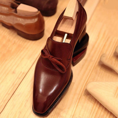 Handmade Men's Leather Bowknot Slip-On Loafers (Buy 1 Get 1 50% Off!)