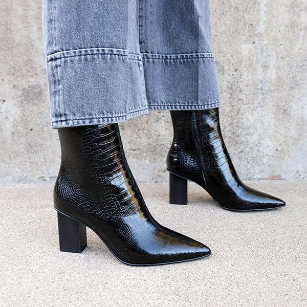Women Black Crocodile Embossed Ankle Boots