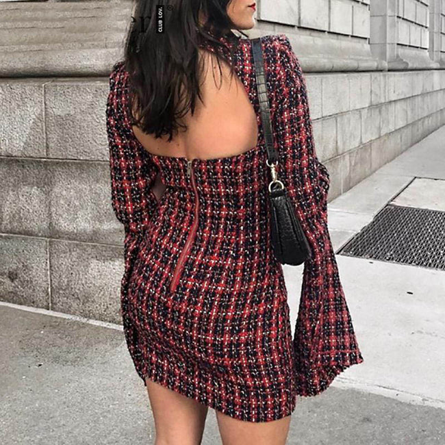 Tweed Sexy Hollow Out Bodycon Dress