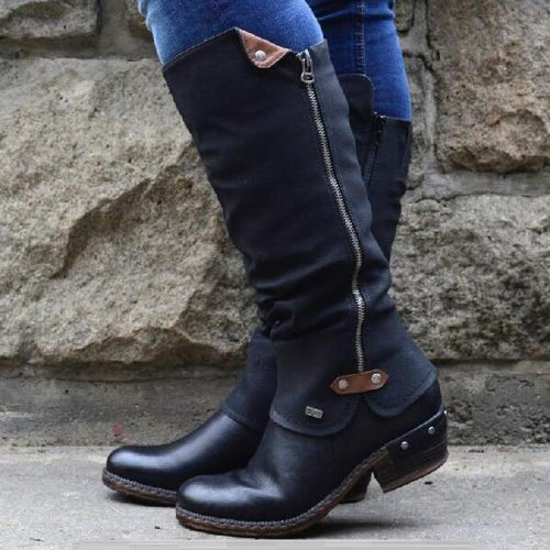 Women Low Heels Round Toe Knee High Boots