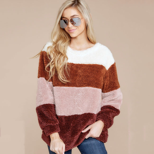 Ladies Patchwork Colors Fur Hoodies Winter Warm Sweatshirts