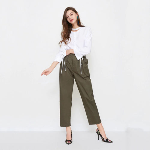 new women's radish leg high waist cotton cropped casual suit pants