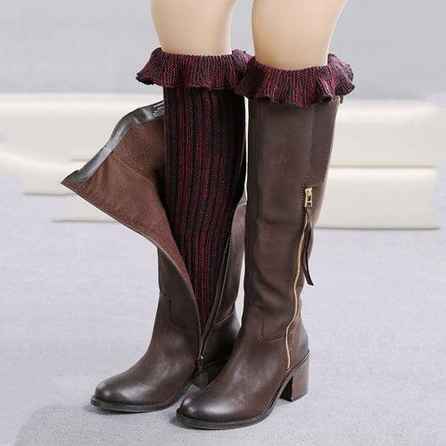1 Pair Women's Knitted Shell Design Boot Cuffs