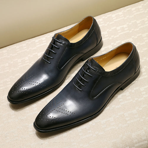 Luxury Brand  Lace Up  Men  Leather Shoes