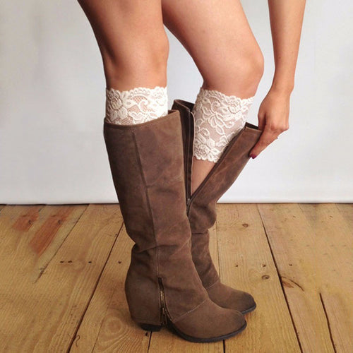 Fashion Stretch Lace Boot Cuffs Women Legs Warmers Trim Flower Design Boot Socks