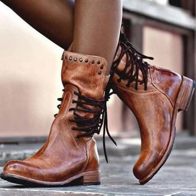 Women Low Heels Leather Lace-up Mid-calf Boots