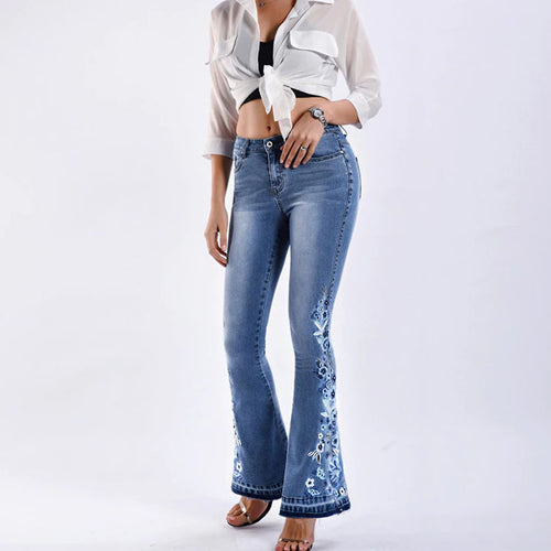 Women Embroidery Stretching  Bell-Bottoms Jeans