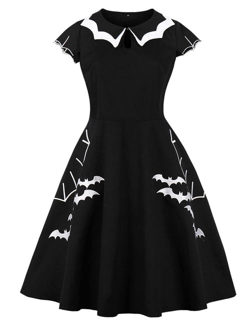 Halloween Bat Embroidered Plus Size Skater Dress