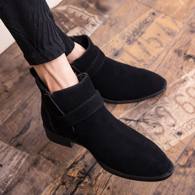Suede Pointed Toe Men's Casual  Ankle Boots