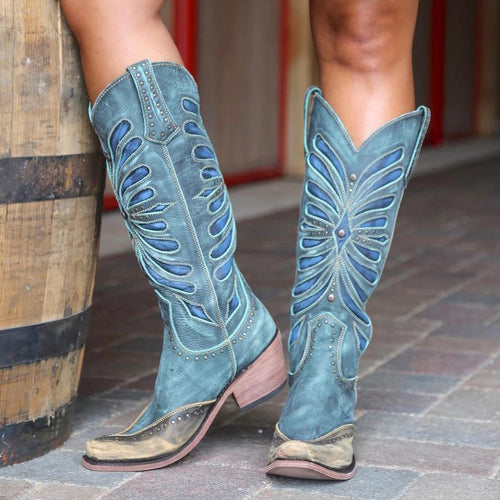 Cowgirl Heeled Leather Women Knee Boots