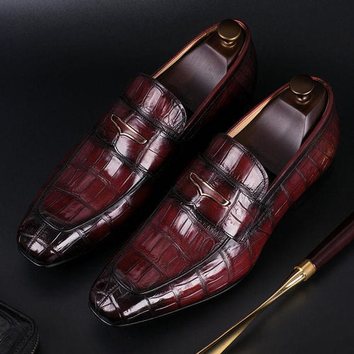 Men's Luxury Alligator Slip-On Formal Loafers