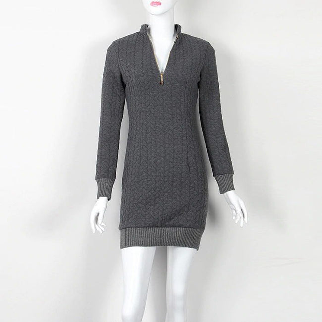 Autumn Winter Sexy V-neck Knit Zipper Sweater Dresses