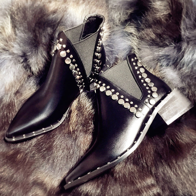 Pointed Toe Rivet Mid-Heeled Motorcycle Short Boots