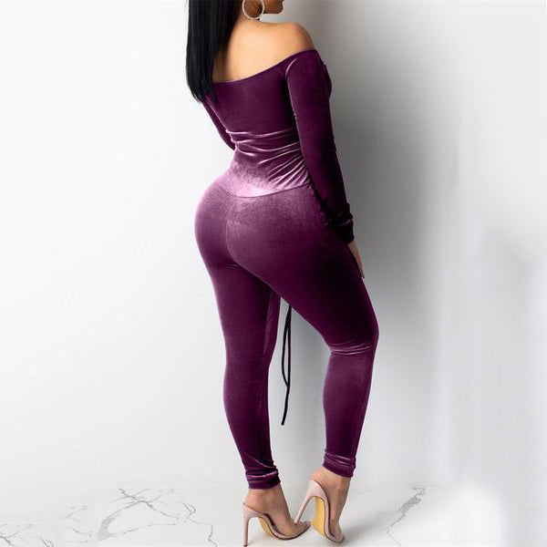 Off Shoulder Bandage Velvet Jumpsuit