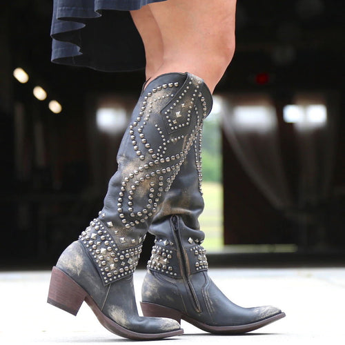Women's Rivets Zipper Western Cowboy High Boots