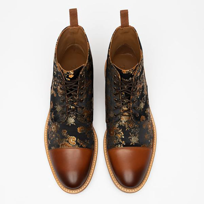Vintage Men's Embroidered Lace-up Shoes