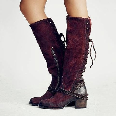 Vintage Knee-High Zipper Suede Boots