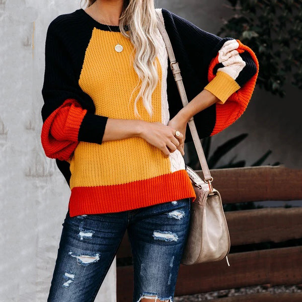 Abstract Colorblock Knit Dolman Sweater