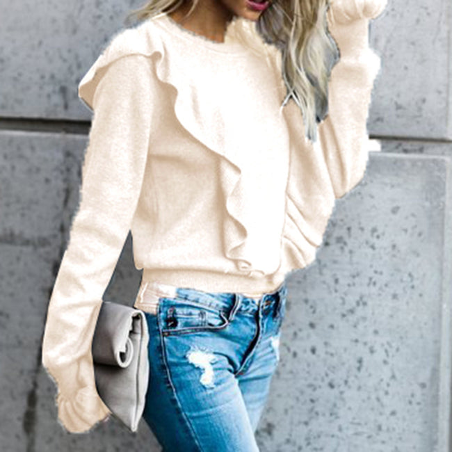 Women  Winter Autumn Turtleneck Pullovers Ruffles Flare Sleeve Tops