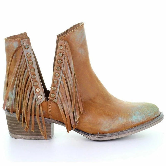 Side Cut Fringe Chunky Heel Ankle Boots