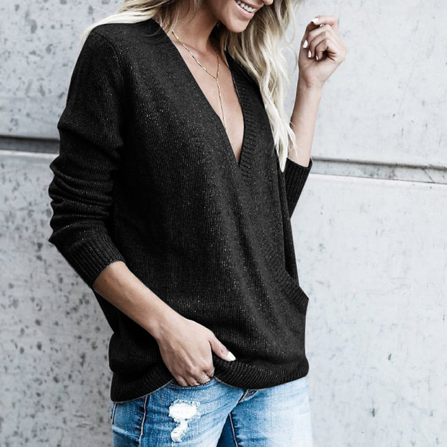 Long Sleeve On-Trend Fashion Picturesque Black Cross V-Neck Sweater