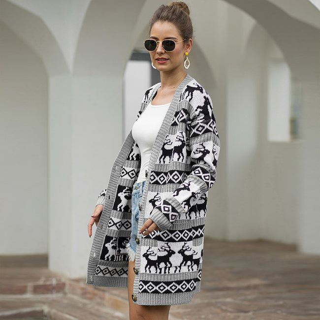 Impeccable Long Sleeve Elk Geometric High Elasticity Cardigan
