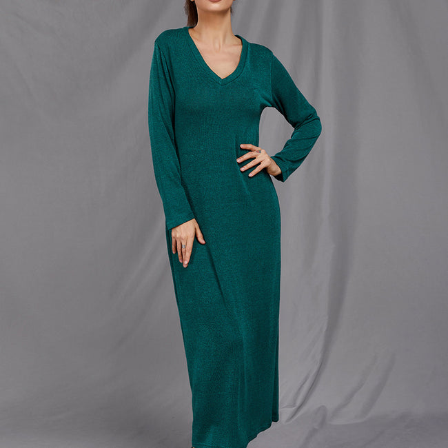Knit V-neck Long Sleeve Base Dress
