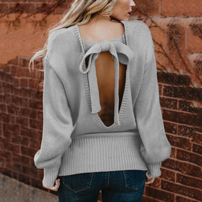 Full Sleeve Classic Backless Round Neck Sweater