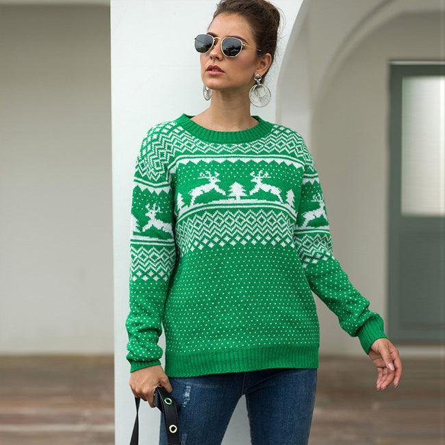 Female Grace Distinct Green Elk And Geometric Sweater